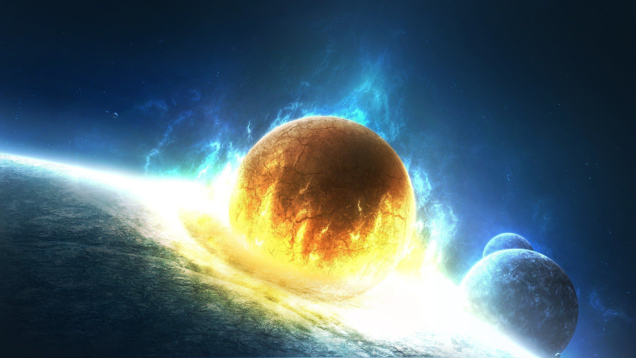 Outer Space Stars Explosions Planets Fire Earth Artwork Collision Wallpaper 2560x1440 293421 Planets Wallpaper Background Hd Wallpaper Fantasy Background