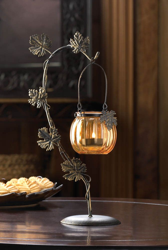 This Stylish Little Pumpkin With Metal Leaves On The Stem Just Add A Tea Light To The With Images Pumpkin Candle Holder Halloween Candles Holders Glass Pumpkins