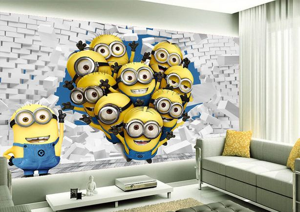 tapisserie 3d papier peint chambre d 39 enfant les minions. Black Bedroom Furniture Sets. Home Design Ideas
