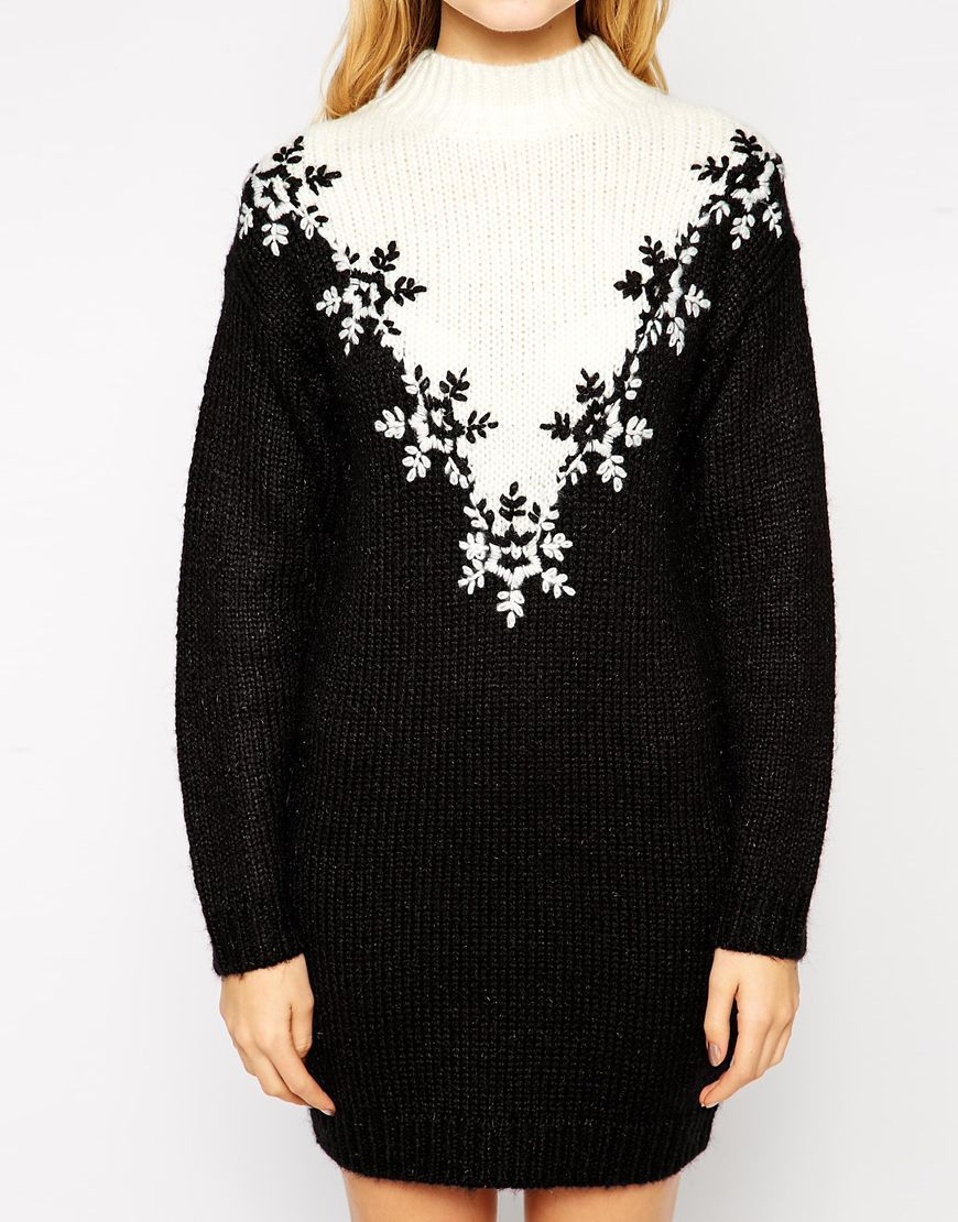 ASOS Christmas Jumper Dress With Turtle Neck And Fairisle