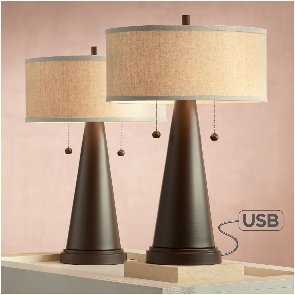 Table Lamps with USB Port (Set of Two) Bedside Shade for