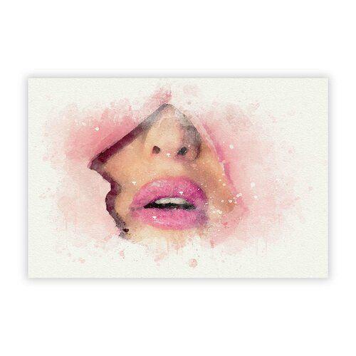 Photo of Grafikdruck Pink Lips Breaking Through Big Box Art Größe: 59,4 cm H x 84,1 cm B
