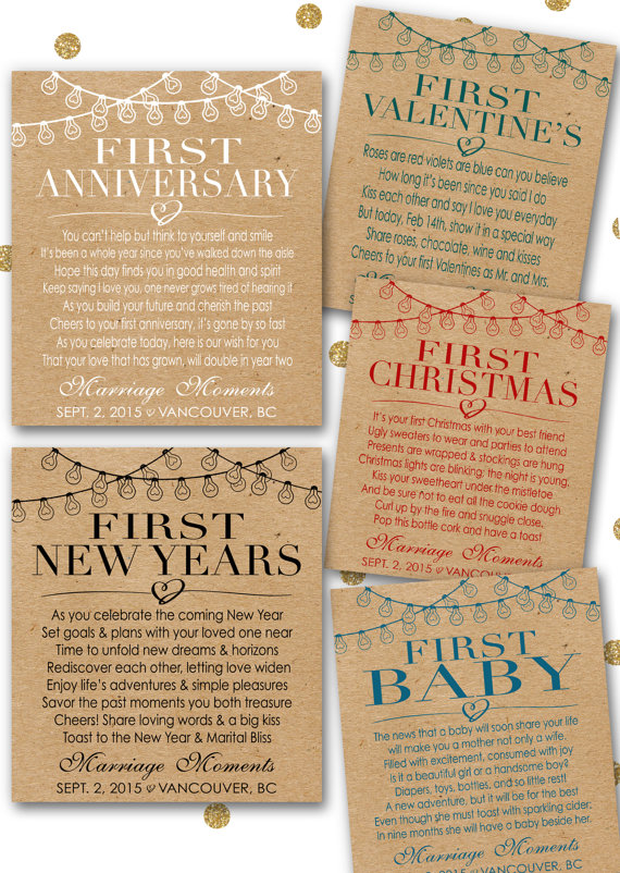 custom marriage milestones wine labels champagne labels kraft paper rustic wedding gift bridal shower poems first anniversary item mm6 first