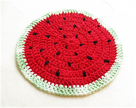 Art Threads: Monday Project - Crocheted Watermelon Potholder and Trivet