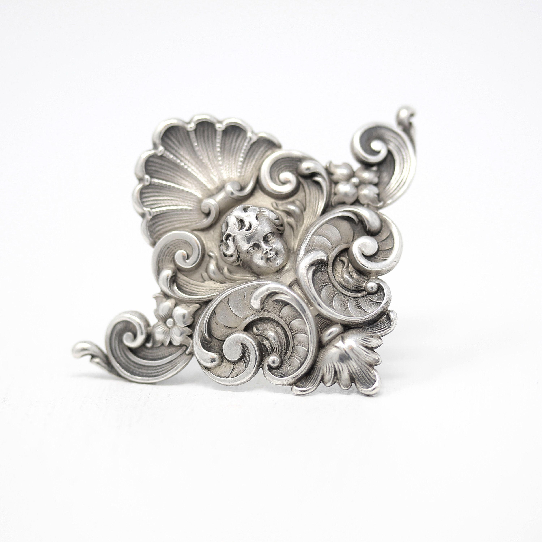 Antique Cherub Brooch Art Nouveau Sterling Silver