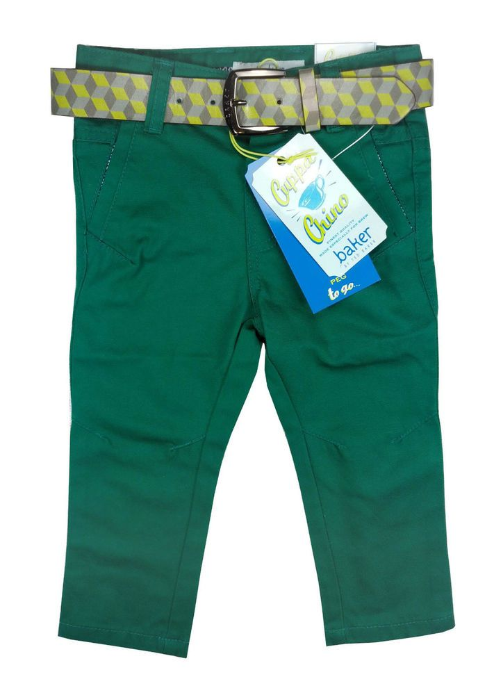 a76786fd72af0b Ted Baker Baby Boys Trousers Belt Chinos Green Designer 12-18 Months ...