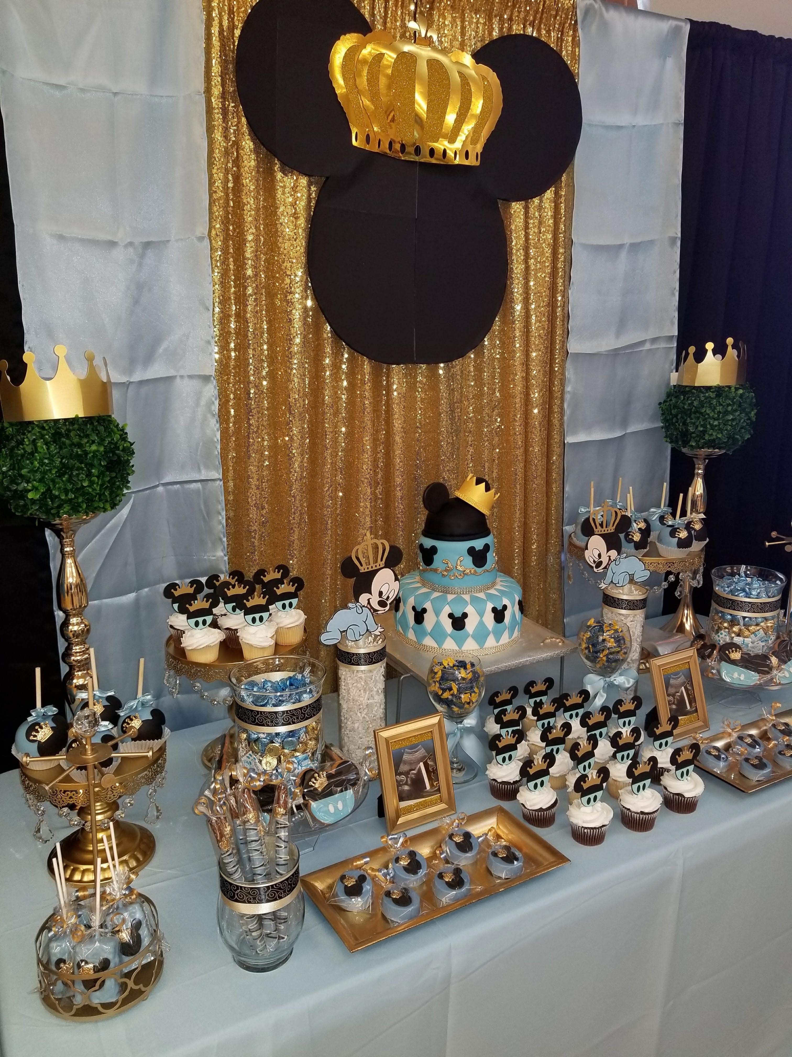 Prince Mickey Mouse themed baby shower desert table  Mickey baby