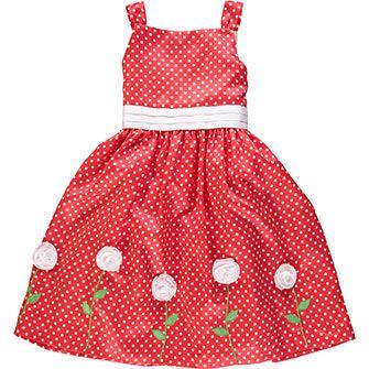 Red Polka Dot Rosette Dress