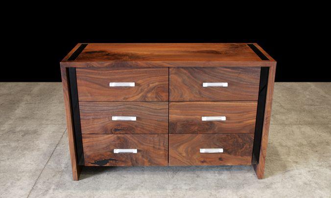 Custom Black Walnut And Acrylic Dresser With 6 Drawers Pulls