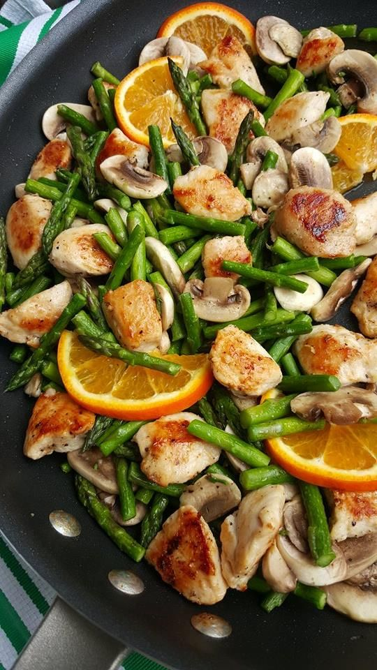 This was our quick 20 minute dinner tonight! You'll need 2 lbs boneless skinless chicken breast/tenders, diced into 1-inch pieces 1.5 Tbsps extra virgin olive or avocado oil, divided 2 lb asparagus, end portions trimmed and remainder diced into 1 1/2-inch pieces 1 small yellow onion, sliced into thin strips 8 oz button mushrooms, sliced 1 Tbsp peeled and finely grated fresh ginger 4 cloves garlic, minced 1/2 cup low-sodium chicken broth Juice of 2 fresh oranges 2 Tbsp raw honey 2 Tbsp cornstarch Sea salt and freshly ground black pepper
