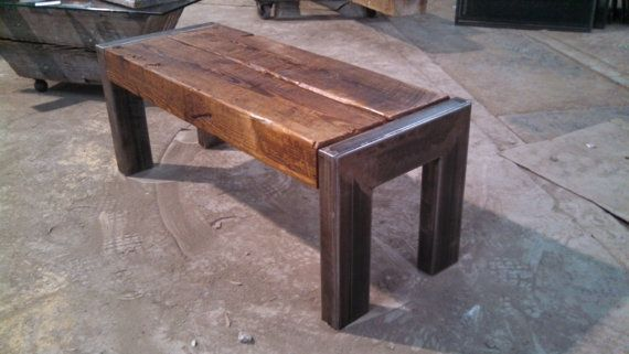 Rustic Bench Coffee Table Rough Cut Pine Beam Iron Steel