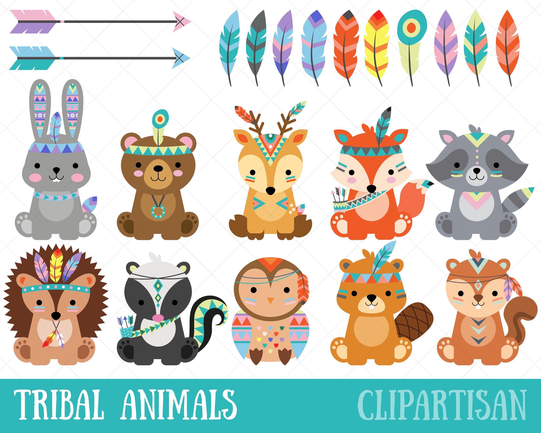 Tribal Animals Clipart | Cute Woodland Animals Clip Art #craftsaleitems