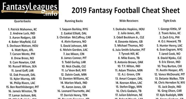 Printable 2019 Fantasy Football Cheat Sheet Fantasy