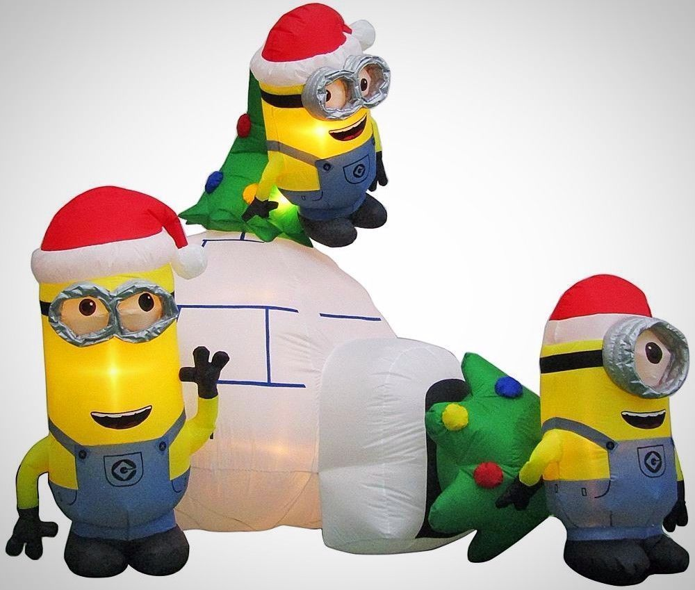 inflatable minions igloo scene airblown christmas yard decor 8 ft wide gemmy minion christmas