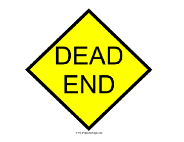 Printable Yellow Dead End Sign Dead End Sign Signs Adoption Baby Shower