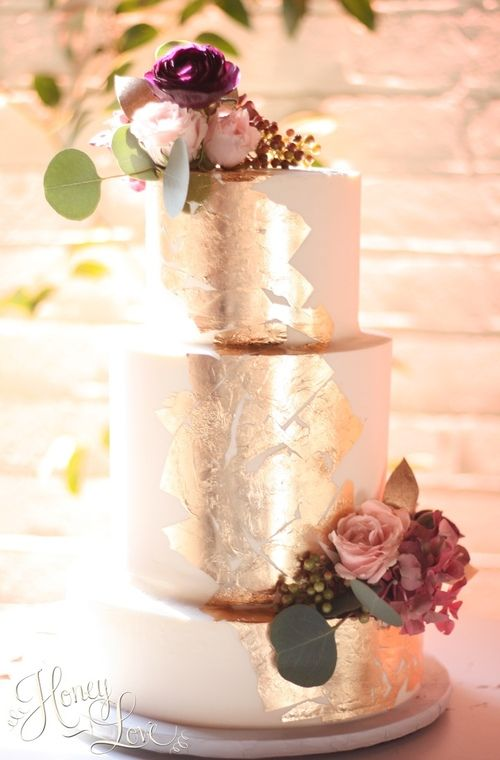 Buttercream Wedding Cake With Edible Gold Leaf And Fresh Flowers HoneyLove Cakery