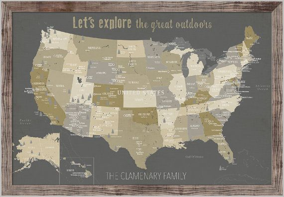 National Park Map, Rustic Wall decor, Push Pin map, USA Parks ...