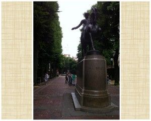 Statue of Paul Revere on Paul Revere Mall in Boston, with Old North Church in the background, July 2014. (Photo: Sarah Sundin)