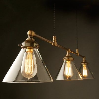 Billiard light brass cone shade clear with filament bulbs edison light globes