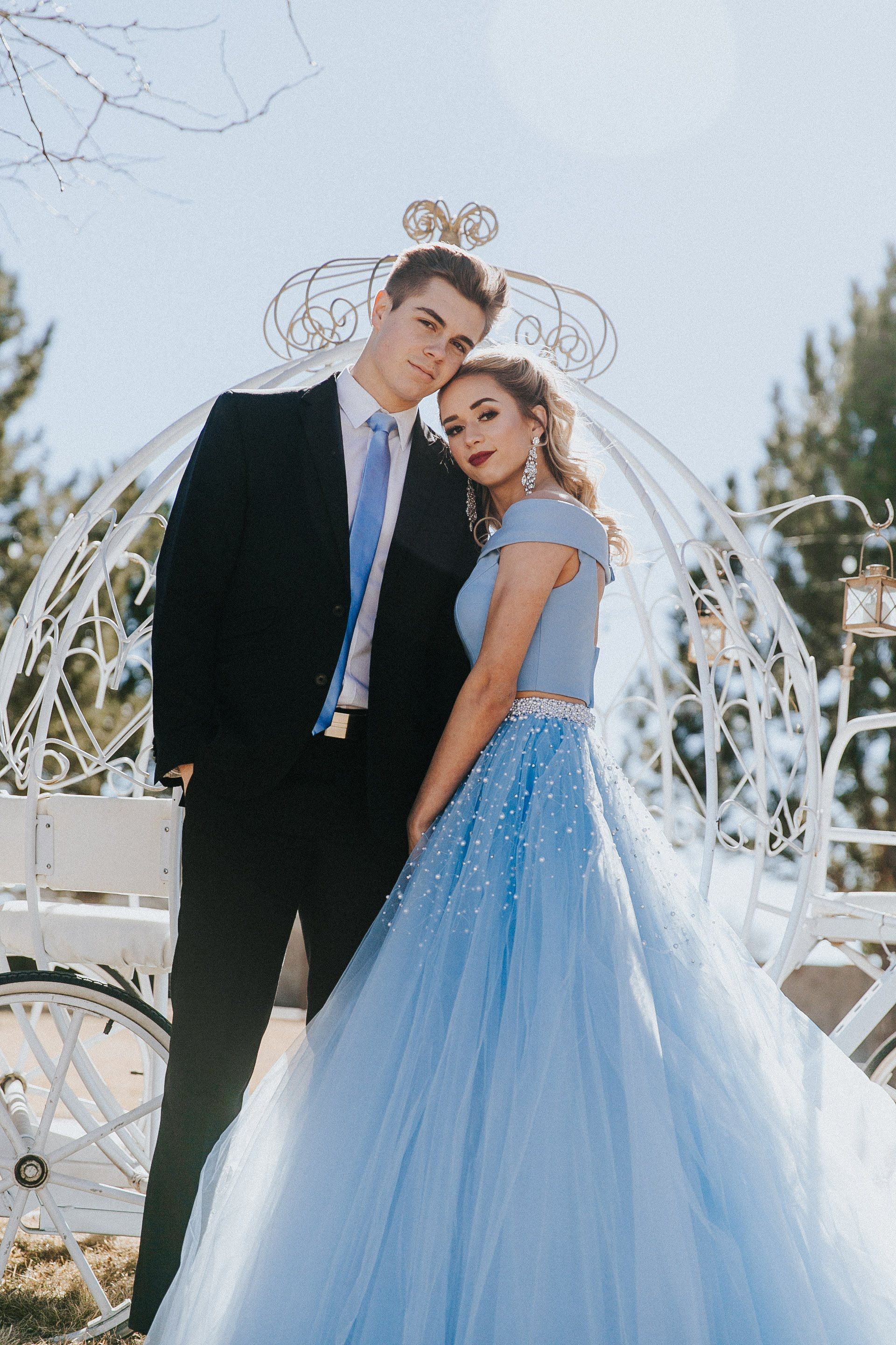 Sherri hill light blue periwinkle piece ballgown with off the