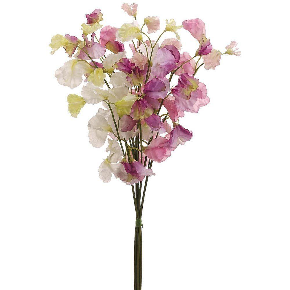 Sweet Pea Silk Flower Bundle In Pink Lavender 20in Tall Afloral