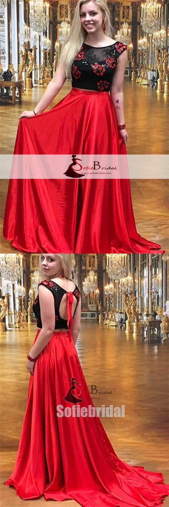 pieces black top open back prom dresses red aline satin prom