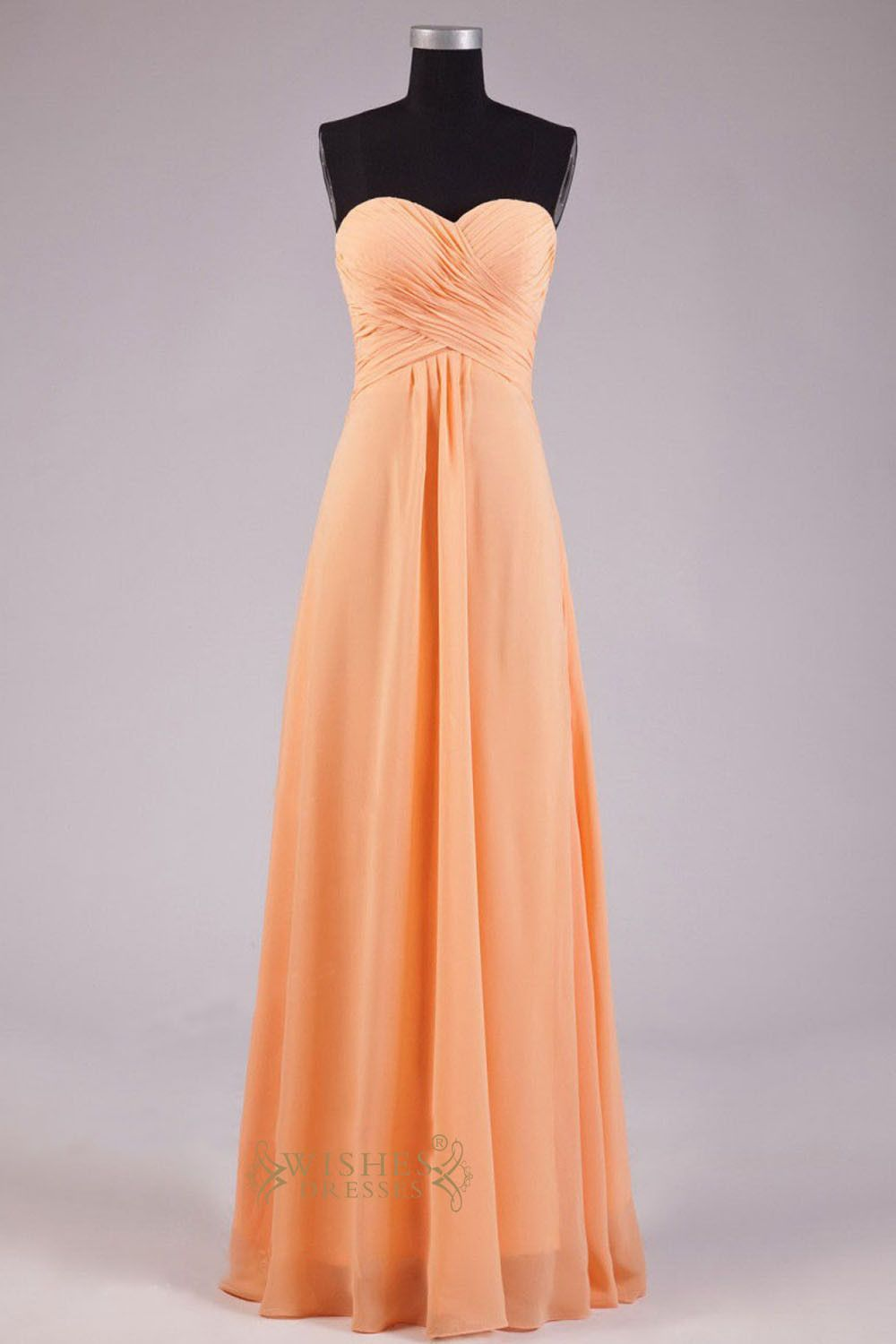 95b995e96e0a A line Sweetheart Orange Chiffon Floor Length Bridesmaid Dress AM252