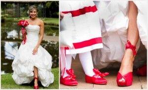 Vestido de novia blanco con zapatos rojos