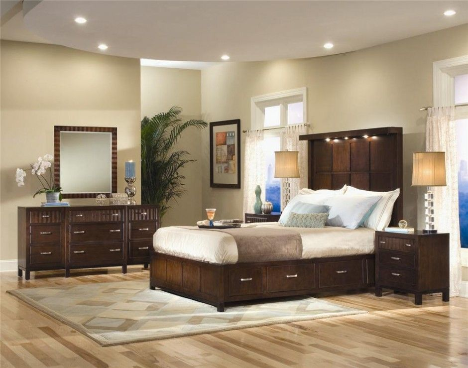 Bedroom Neutral Bedroom Painting Ideas And Laminate Wooden Flooring Plus  Overhead Lighting Plus Frosted Glass Mirror