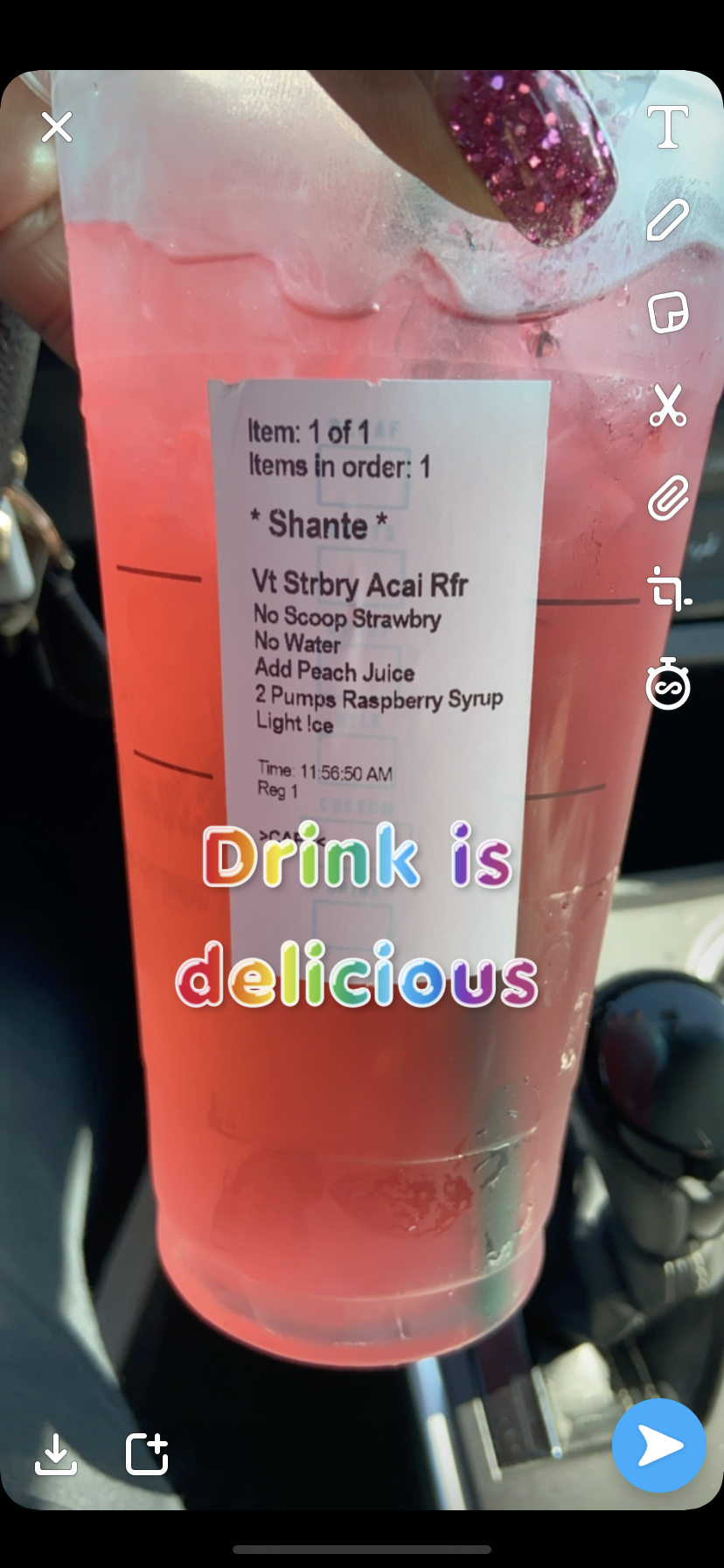 Strawberry açaí no water with peach juice and 2 pumps of