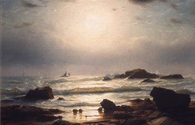 Brooklyn Museum: American Art: Sail Boats Off a Rocky Coast William Stanley Haseltine, American, 1835-1900