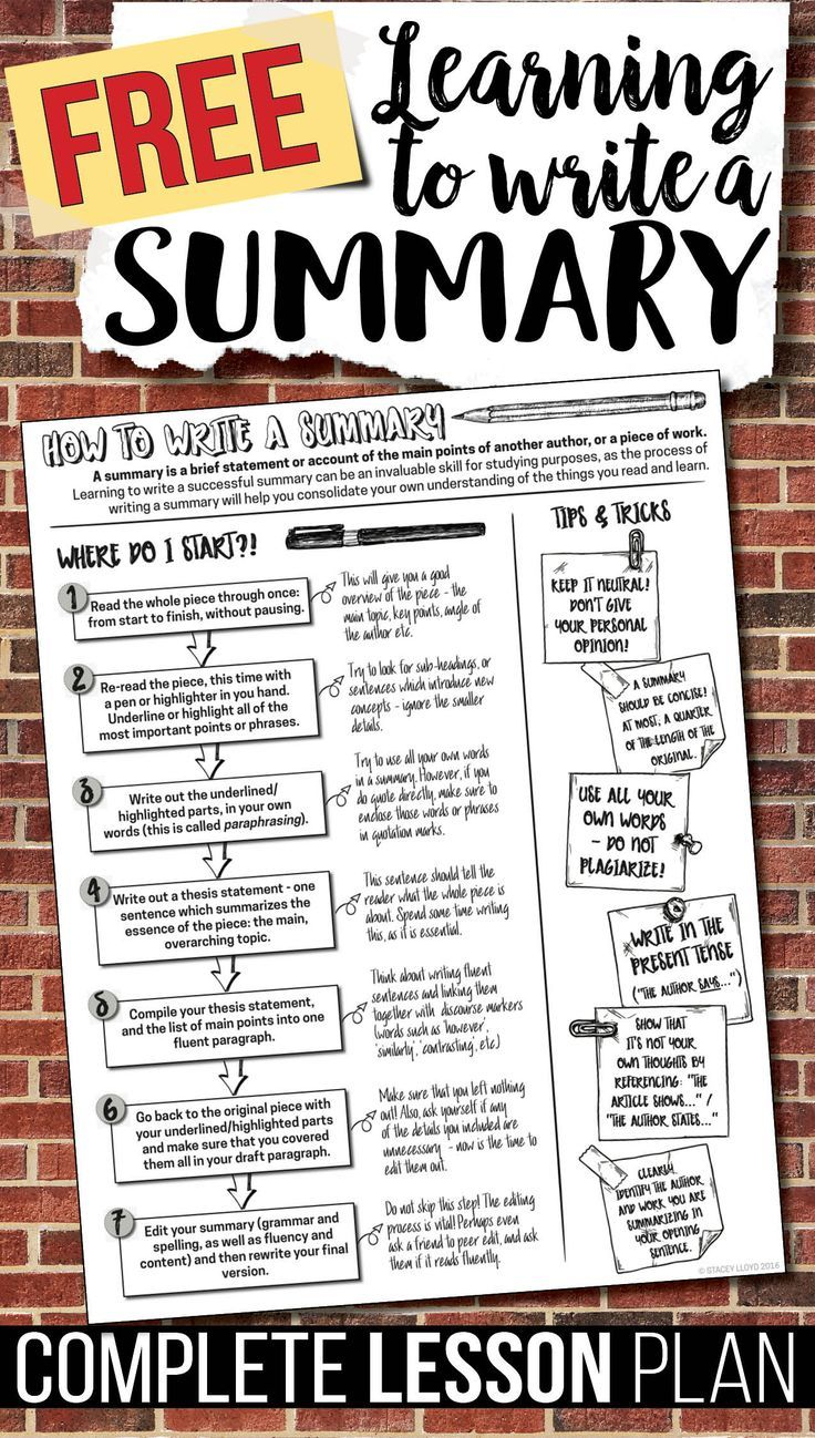 small resolution of A free lesson plan (with worksheets and handout) for teaching summary  writing; great for grades 7 to …   Teaching summary writing