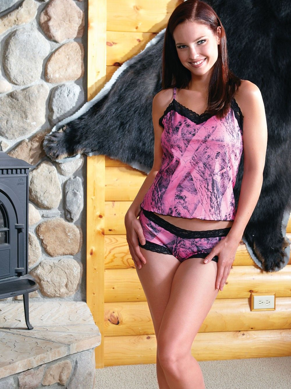 Camo Camisole Naked North Pink Top, Camo Lingerie