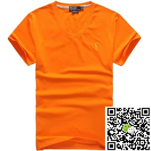 Ralph Lauren Men Short Sleeve V-Neck Tees Pony Polo Orange