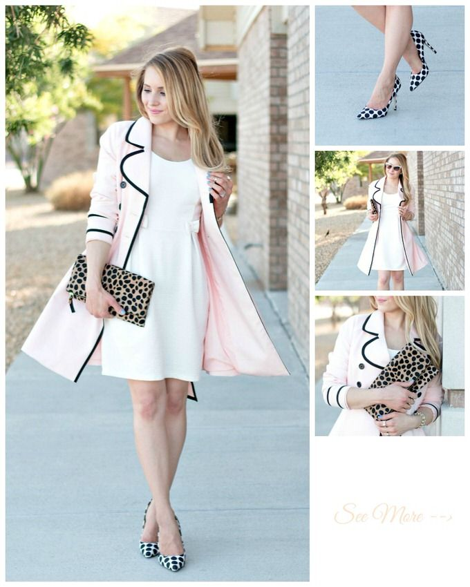 summer white dress, pink trench coat, leopard clutch, polka dot ...