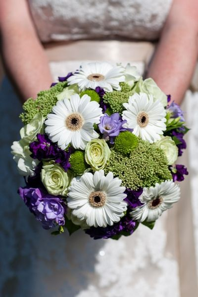 Hand Tied Wedding Bouquet With White Gerbera Daisies Green Roses