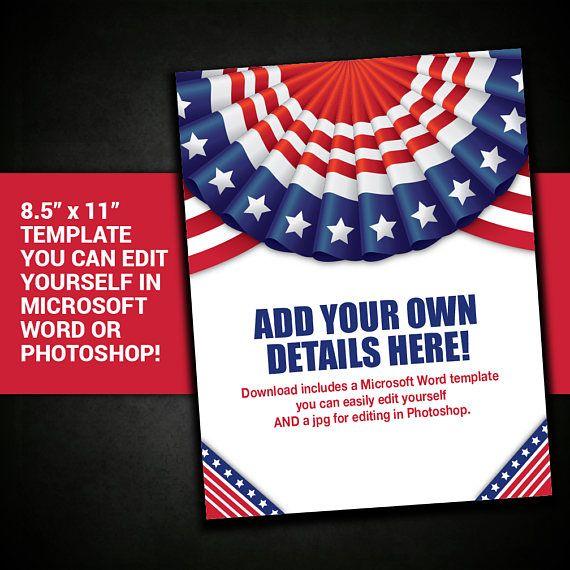 PATRIOTIC flyer border frame United States USA template | My Print ...