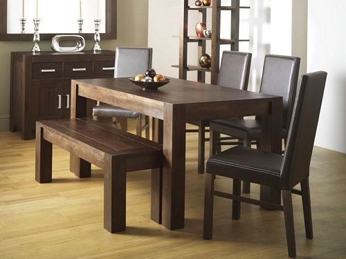 Dining Table With Bench And Leather Chairs
