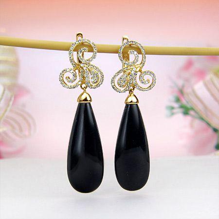 14k Yellow Gold Diamond Black Onyx Hoop Earrings