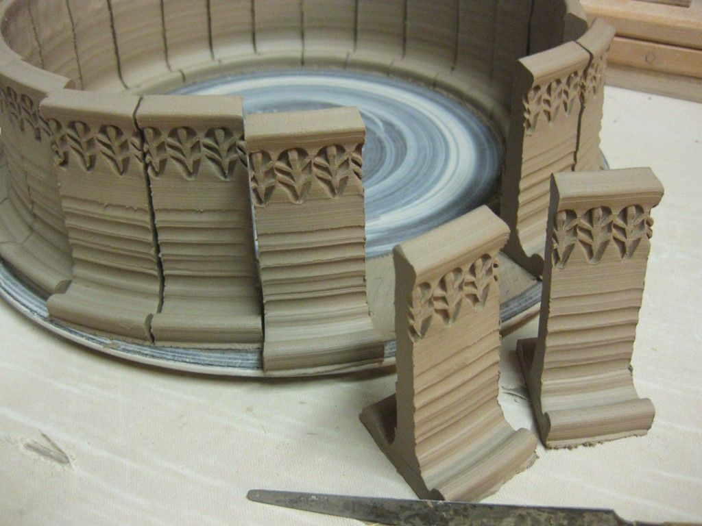 Idea for vertical glaze test pieces throw a bottomless cylinder test tiles throw a bottomless cylinder add grooves and stamping slice it impress with numbers dry and bisque dailygadgetfo Choice Image