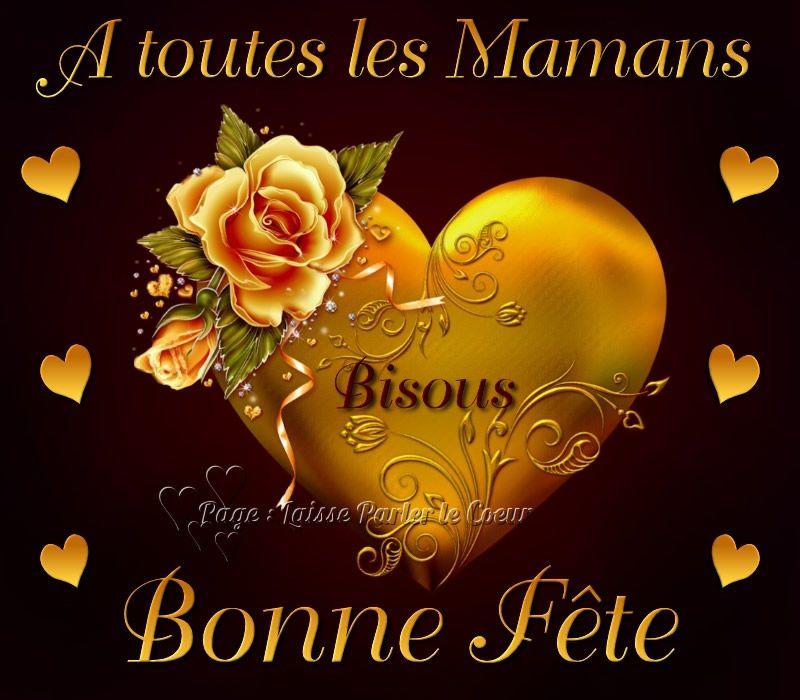 À toutes les Mamans, Bonne Fête, Bisous #fetedesmeres coeur fleur ...
