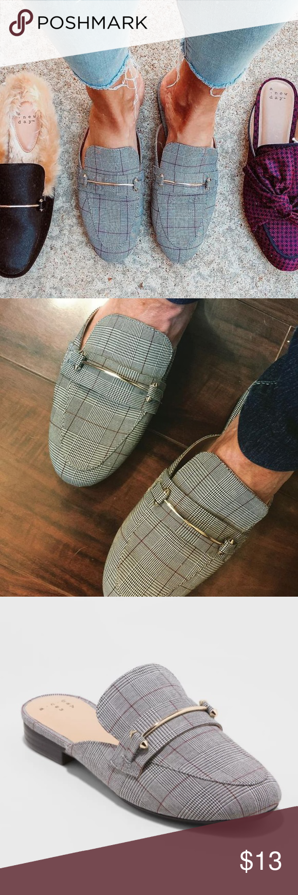 Women/'s Remmy Plaid Backless Loafers A New Day ALL SIZES