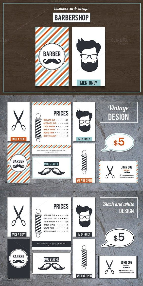 Barber shop business cards set 2 business card templates in 2018 barber shop business cards set 2 colourmoves