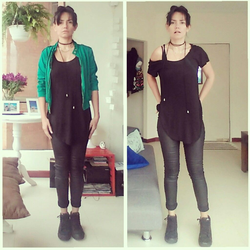 #BlackOutfit Green #BomberJacket