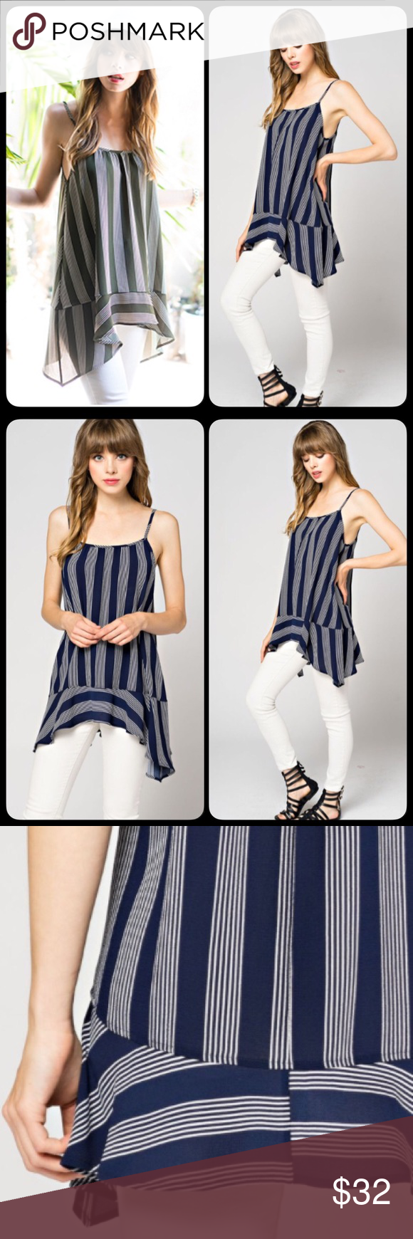 Striped Peplum Sharkbite Asymmetrical Tank Blouse Beautiful tunic tank in a striped print and shark bite asymmetrical hemline. So adorable and perfect for the summer! S M L. Only blue available. Runs true to woman's sizing S4-6 M8-10 L12-14 Tops Blouses