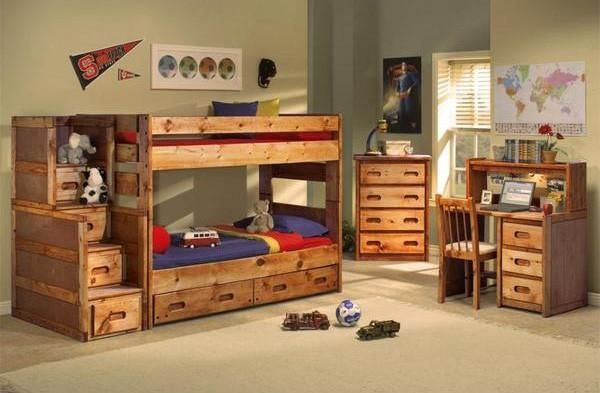 pine twin over twin bunk bed with stairway chest and underbed storage drawers