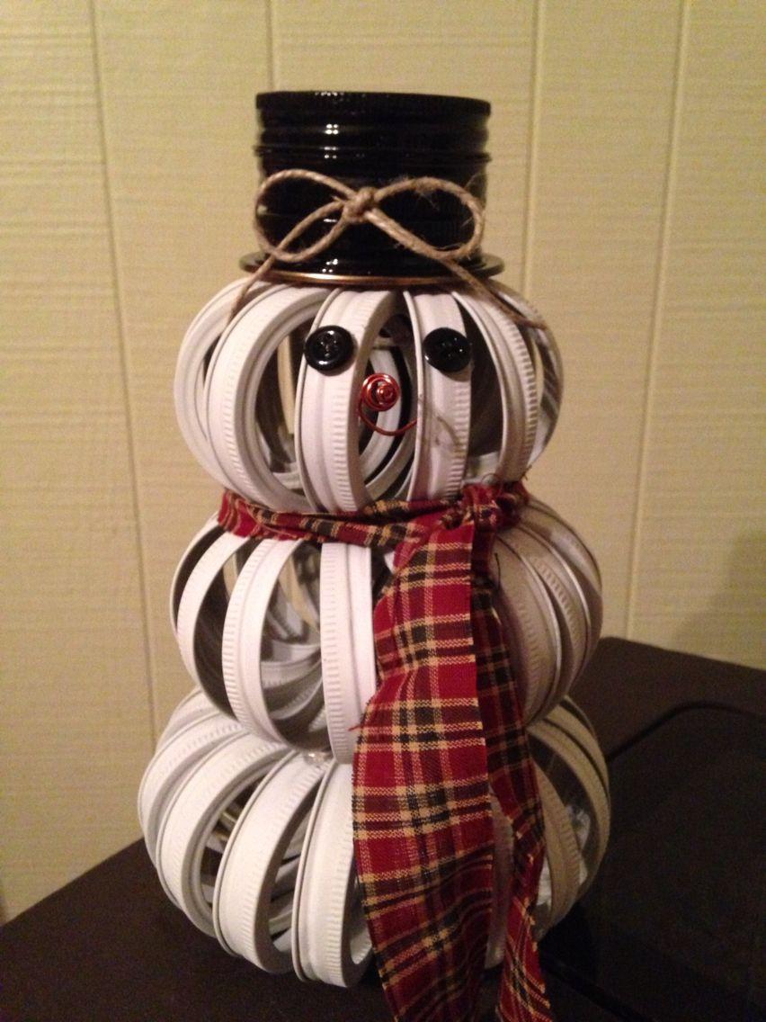 Mason Jar Ring Snowman Craft Ideas Mason Jar Crafts