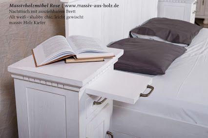 Bett & Nachttisch mit ausziehbarem Fach; massiv Holz Kiefer; www ...