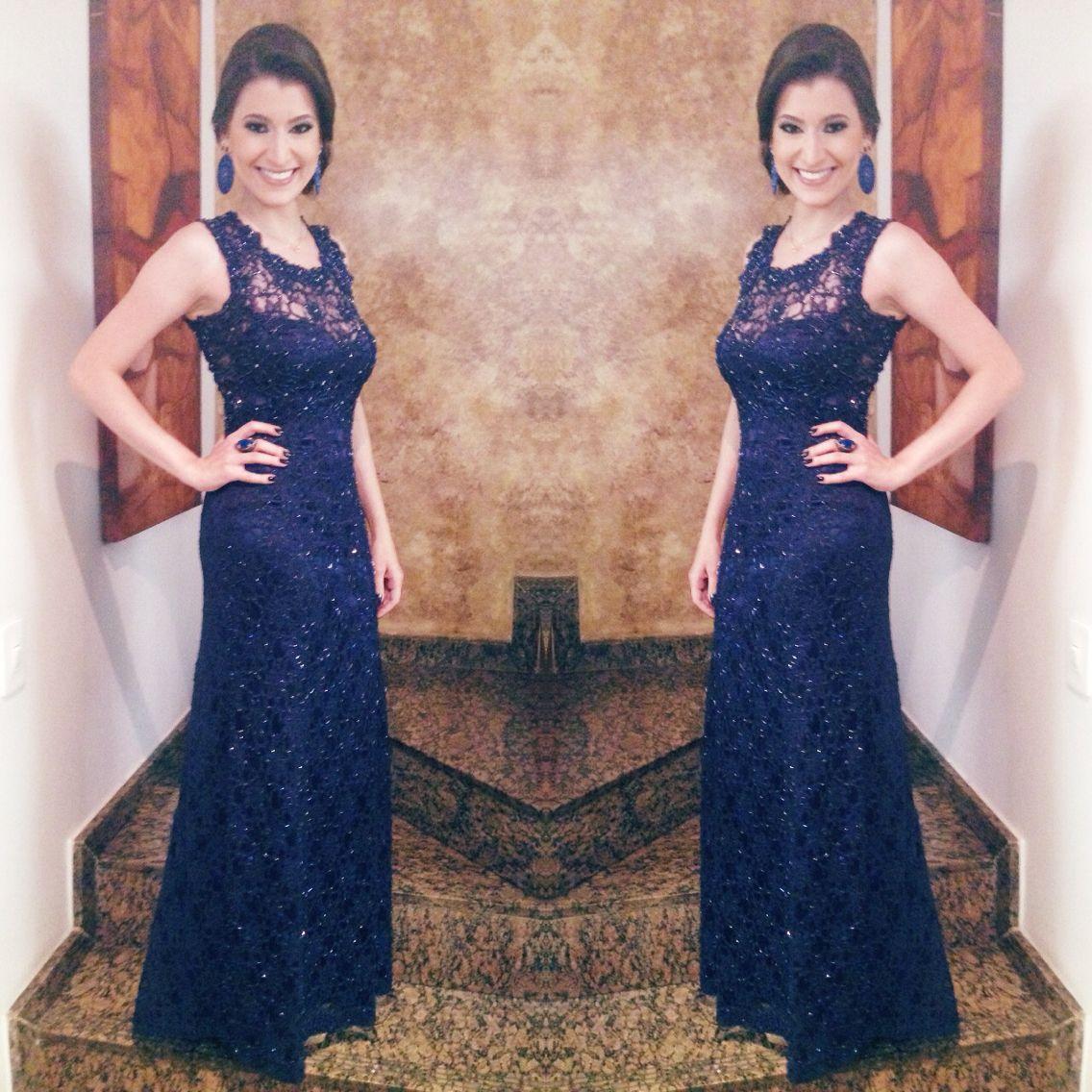 Vestido renda azul marinho longo