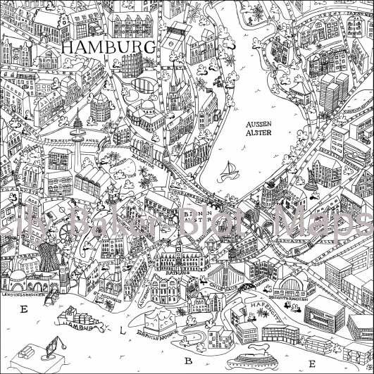 Digitaldruck Hand Drawn Hamburg Map Positiv Ein